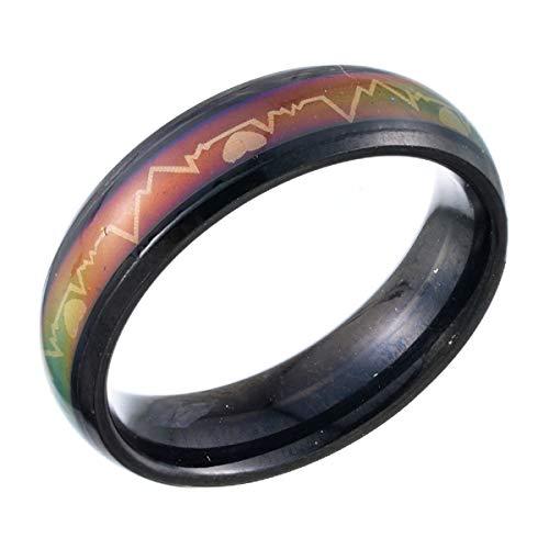 Anillo de acero de titanio color negro, con termo-sensor que cambia de color con los estados de ánimo, latidos del corazón. Tamaño de los anillos 6 – 10, Size 10, 19.7mm