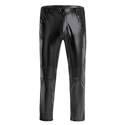 Freebily Pantalones Largos de Cuero de Imitación Brillo Pantalón Ajustado para Moto Bici Cool Pantalones Impermeables Resistente con Bosillos Negro 4XL