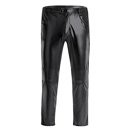 Yeahdor Herren Lederhose Wetlook Hose Metallic Disco Pants Shiny Enge Lederleggings Tanz Performance Outfit Faschingskostüme Schwarz 4XL