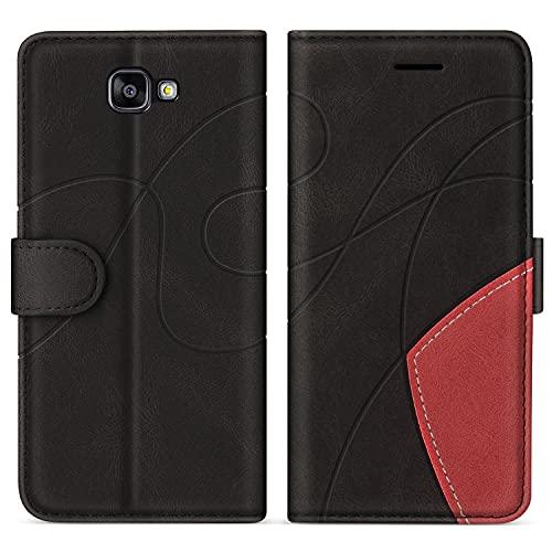 SUMIXON Hülle für Galaxy A3 2016, PU Leder Brieftasche Schutzhülle für Samsung Galaxy A3 2016, Kratzfestes Handyhülle mit Kartenfächern & Standfunktion, Schwarz