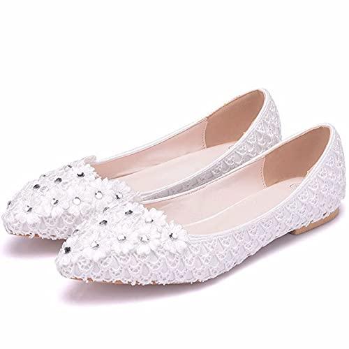 YLKCU Zapatos de Novia de Mujer, Flores de Encaje de Gasa Blanca...