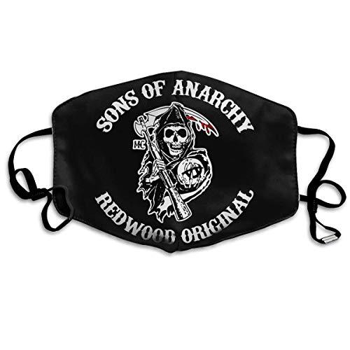 Pañuelo para la cara de Sons of Anarchy con logo a prueba de viento, reutilizable, lavable, para la boca diaria, color blanco
