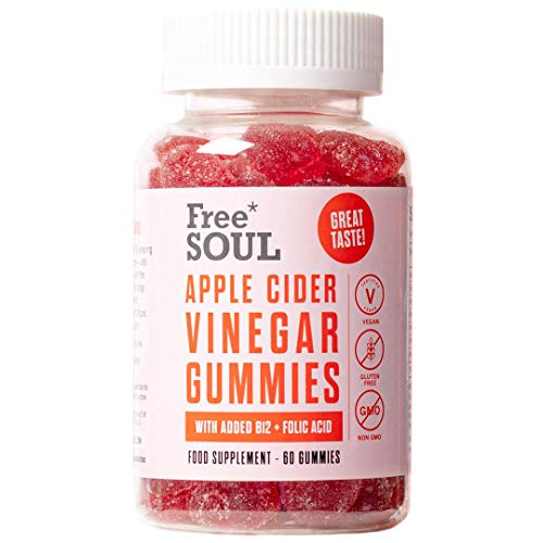 Apple Cider Vinegar Gummies with The Mother Enhanced with Vitamin B12 & Folic Acid | 60 High Strength 1000mg ACV Vegan Capsules with Pomegranate & Beetroot Powder | Natural Ingredients by Free Soul