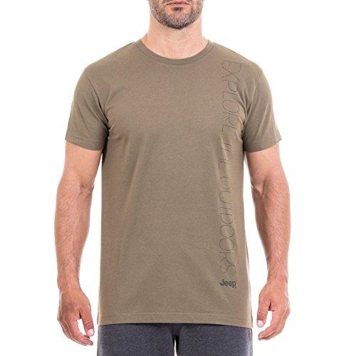 Jeep J8w T-Shirt pour Homme avec Inscription « Explore The Outdoor » XXL Vert Olive/Gris foncé.