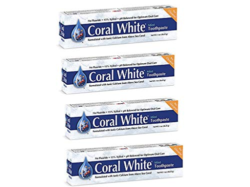 Coral White Mint Travel Size Toothpaste Natural Fluoride, SLS Glycerin Free Coral Calcim Remineralizing Toothpaste 1 Ounce (4 Pack)