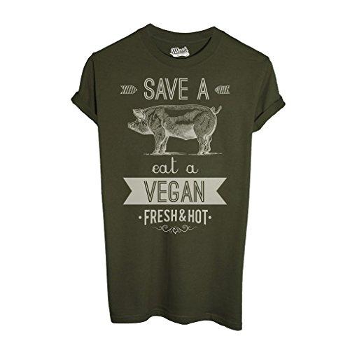 MUSH T-Shirt Eat A Vegan - Social by Dress Your Style - Uomo-XL-Verde Militare
