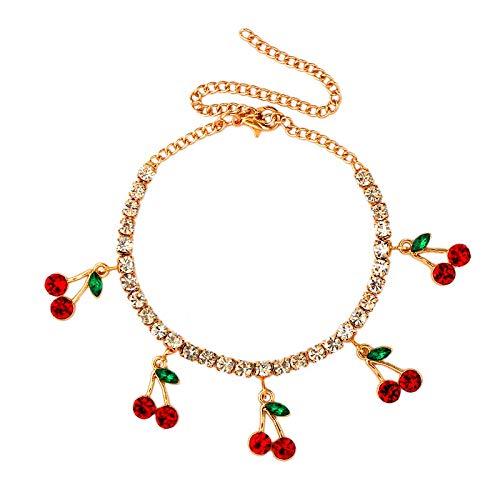 XKMY Pulsera para mujer de cristal de cerezo brillante, para mujer, color dorado, plateado, con diamantes de imitación, joyería para fiestas (color metálico: 001801GD)