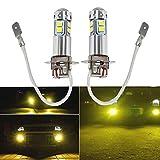 2 x H3 LED Fog Lights Bulbs 100W Extremely Bright 3000K Yellow Fog Light Lamp Bulb Driving Projector DRL Bulbs
