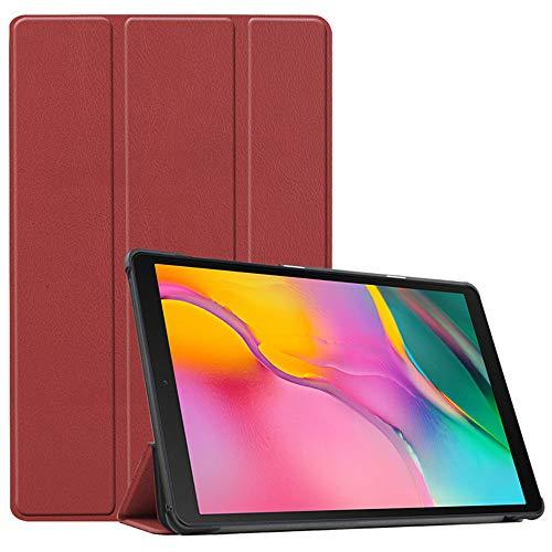INSOLKIDON Compatible con Funda Samsung Galaxy Tab A2 10.5 2020 Case Protector Cáscara Completo Proteccion Billetera Paquete de la Tarjeta Función de Stand Flip Leather Case (Vino Tinto)