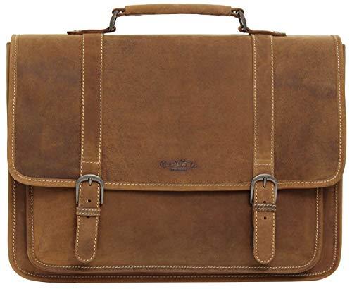 Gusti Leder studio 'Greg' borsa per computer 17' a spalla lavoro università interno impermeabile ventiquattrore gramde elegante marrone 2H5-20-5wp
