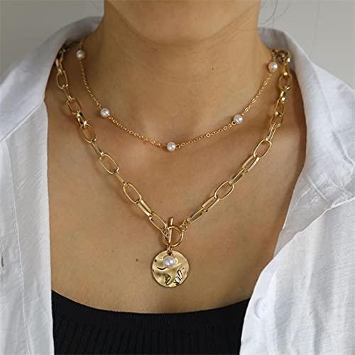 SONGK Collar Gargantilla con Cadena de Monedas Multicapa Vintage para Mujer, Color Dorado y Plateado, Retrato de Moda, Collares de Cadena Gruesa, joyería