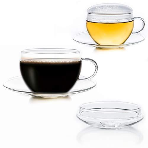 Creano 2er-Set Glas-Tasse mit Untertasse & Deckel, praktisch für ErblühTeelini, exqusiTea, Cappuccino, Latte Macchiato | 200ml
