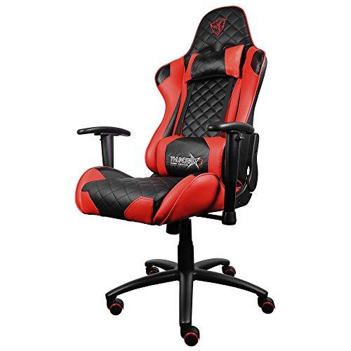 ThunderX3 TGC12 - Silla gaming profesional (altura regulable, respaldo ajustable 180 grados, bloqueo inclinación, reposabrazos 2 direcciones, reposacabezas y almohada lumbar) color negro y rojo