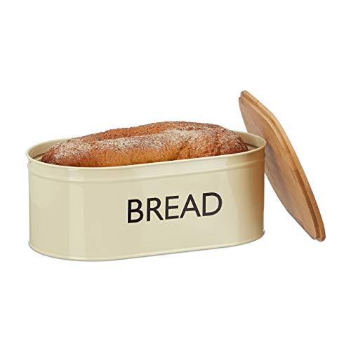Relaxdays Brotkasten Retro XL, mit Bambusdeckel, runde Brotbox mit Schriftzug BREAD, HBT: 14 x 36 x 20 cm, beige/natur
