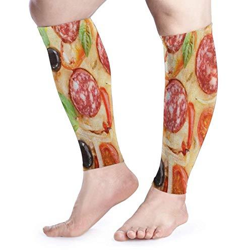 FLDONG Calcetines de compresión para pantorrilla de Italia, para pizza, queso, scooter, albahaca, arte sin pies, calcetines de compresión