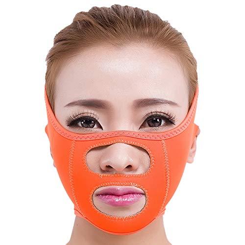 KISSION Anti-rides Lift V Ligne Du Visage Lifting Du Visage Mince Bande De Levage Du Menton Masque De Soins Du Menton Serrant Le Patch De Serrage Respirant (Orange)