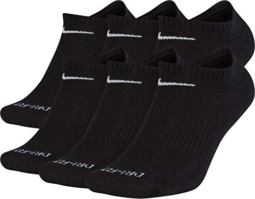 NIKE Dri-Fit Training Everyday PLUS MAX Cushioned No-Show Socks 6 PAIR Black White Swoosh Logo) LARGE 8-12