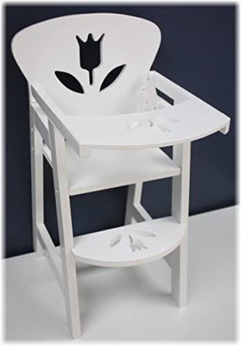 Real Wood Toys 18 Inch Doll Furniture Wooden Doll High Chair with Lift Up Tray 18 White Floral product image