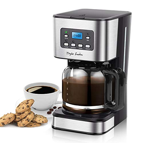 Taylor Swoden Filter Coffee Machine, Drip Coffee Maker with Programmable 24hr Timer, Keep Warm & Anti-Drip, Reusable Filter Fast Brewing - Darcy 950W 1.5 L Black Stainless Steel Coffee Machine