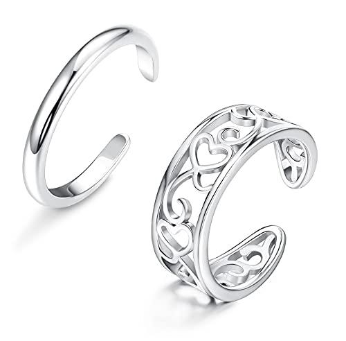 CASSIECA 2 Pcs Anillo del Dedo del Pie en Plata de Ley 925 para Mujer Niñas...