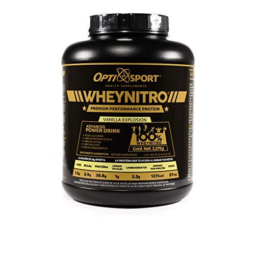 WHEYNITRO Proteína de Suero de Leche Micro filtrada +HMB + BCAAs, que NO Inflama, 26.6 g de proteína por servicio, 65 servicios | Sabor Vainilla | Bote con 2275 gr | Suplemento en Polvo | Whey Protein