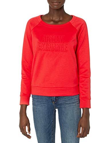 Armani Exchange Double Knit, Side Logo Sudadera, Rojo (Coral 1476), X-Small para Mujer