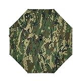 OcuteO Golf Umbrella Military Camouflage Splashes Hunting Army Camo Compact Auto Open Close Travel Sun Uv Windproof Folding Umbrella Portable Retractable Car Umbrellas Automatic Parasol Black Anti-Uv