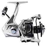 Fishing Reel Spinning Reels Carbon Fiber Aluminum Alloy Metal Body 5+1 BB Ultra Light Smooth Powerful with CNC Machine Cut 2000/3000/4000/5000/6000 for Ice/Sea Fishing and Salt Water (ATS4000)