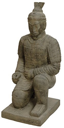 korb.outlet Gartenfigur Chinesischer Soldat kniend Steinguss/Steinfigur Krieger Terrakotta Armee Statue 100cm für Haus und Garten