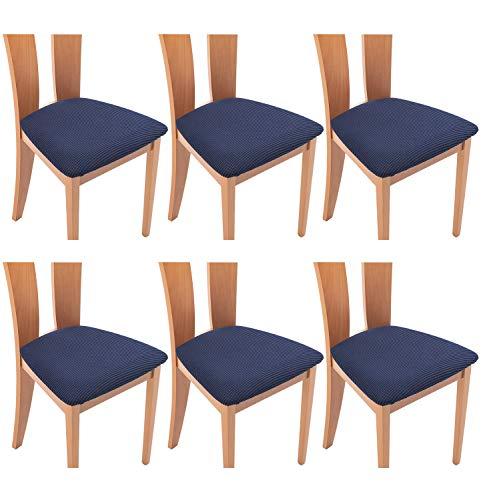 TIANSHU Coprisedili per Sedia,6 Pezzi Set Home coprisedia Cuscino coprisedile Furniture Protector,Jacquard Cuscino Seduta Sedia da Pranzo Protezioni Chair Slipcovers(6 Pezzi Set,Blu Scuro)