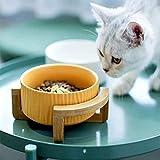 Moter 400ml Set para Gatos y Perros pequeños con Madera Soportes Eco Friendly Pet Bowl de cerámica Gato Blanco Bowl,Amarillo