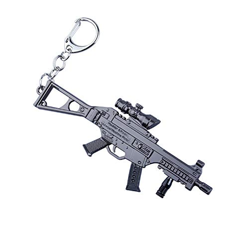 QISUO UMP9 Submachine Gun Key Chain Model Great Gift for Boys Multicoloured Skin Toy Mini Figure Arts Collection Metal Supplies Desk Decoration Weapon Action Gun Accessories