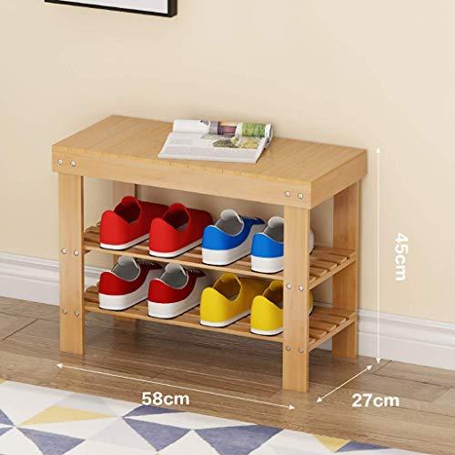 Schoenenrek voor schoenenbank, kleine schoenenkast aan de deur, kan op een schoenenbank zitten, van bamboe, ruimtebesparend, multifunctioneel, 2 lagen (afmetingen: 50 x 27 x 45 cm) QDQXDX5194r-2 Qdqxdx5194r-2