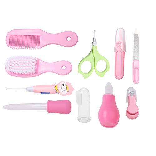 Baby nagelknipper schaar haarborstel kam manicure verzorgingsset pasgeborenen essentiële gezondheidszorging kit set comfortabel per dag 10 stuks roze