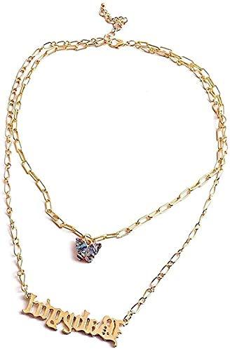 WYDSFWL Collares de Moda con Nombres Bohemios, Collares para Mujer, niña, Collar con Colgante de Mariposa Dorada, joyería