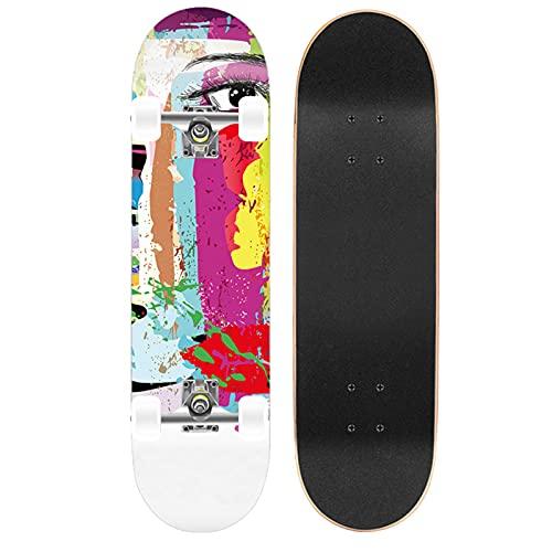 DFWYG Skateboards Monopatines Estándar Longboard Completo de 31'x 8', 9 Capas de Madera de Arce Canadiense para Niños, Adolescentes y Adultos Principiantes,Abstract