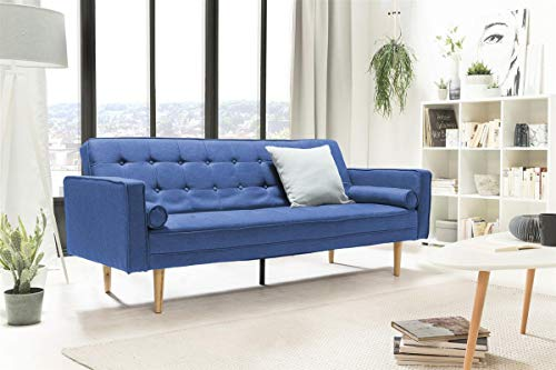 Unbekannt SalesFever Sofa Schlafsofa 205x84x86 cm blau Strukturstoff, Massivholz L = 205 x B = 84 x H = 86 blau