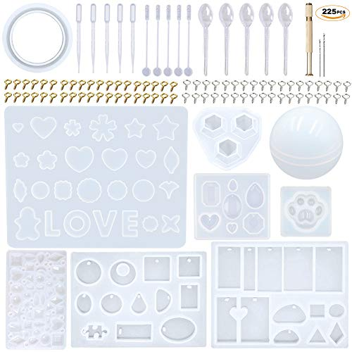 EuTengHao 225Pcs DIY Jewelry Silicone Casting Molds Tools Set Contains 9 Jewelry Resin Molds Collection,4 Necklace Pendant Resin Molds,1 Earring Resin Mold,Bracelet,Diamond,Bear Claw,Sphere Resin Mold