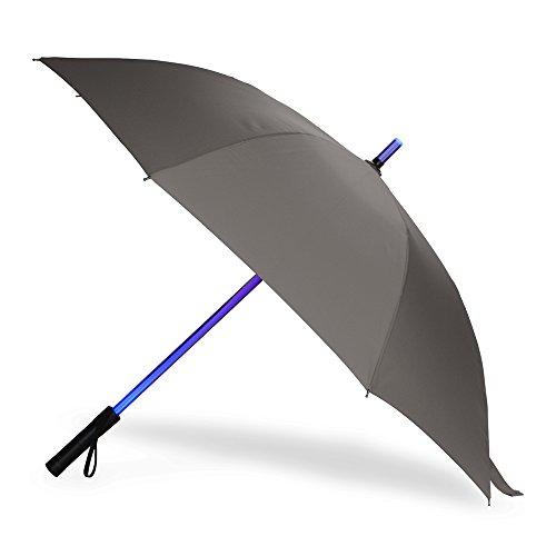 BESTKEE Regenschirm Laserschwert LED Design Schwarz Star Wars Schirm mit 7 Farbwechseln am Schaft und Integrierter Taschenlamp (Grau1)