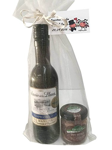 Regalo de vino Señorío de los Llanos Tempranillo con tarro miniatura de paté ibérico para invitados (Pack 24 ud)