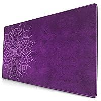 マウスパッド 大型 ゲーミング デスクマット 曼荼羅 背景 大柄 花柄 紫 かわいい 防水性 耐久性 滑り止め 多機能 超大判 40cm×75cm