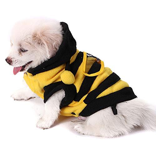 Costume da cane a forma di ape con cappottino e cappottino con cappuccio per animali domestici, in pile, per gatti e gatti di taglia piccola, media (XL)
