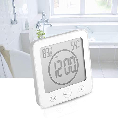 Atyhao wasserdichte Badezimmer Timer Wanduhr Digital LCD Thermometer Hygrometer Saugnapf Duschuhren(#1)