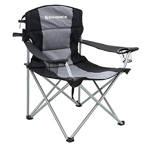 SONGMICS XL Campingstuhl, klappbar, mit gepolstertem Sitz, groß und komfortabel, Klappstuhl mit robustem Gestell, bis 150 kg belastbar, Outdoor Stuhl, schwarz GCB07BK, Gewebe, one Size