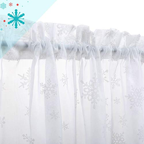 Kitchen Tiers White Cafe Curtains Rod Pocket Winter Snowflake Decorative Voile Half Window Curtains for Bathroom 24 inches Long 2 Panels
