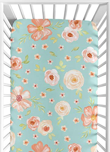 Sweet JoJo Designs Turquoise and Peach Baby Or Toddler Fitted Crib Sheet for Watercolor Floral Collection - Pink Rose Flower