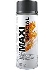 MAXI COLOR Hittebestendige spuitlak, ovenverf, uitlaat, ovenlak, 400 ml, spuitbus, hittebestendig, hoge temperatuur-lak, opbrengst (800 °C, mat zwart)