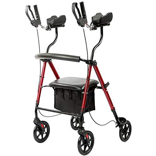 FreeAction Rollator Walker, Stand-Up Walkers Back Erect Rolling Walking Aid with Seat, Padded Armrests for Seniors and Adults, Red