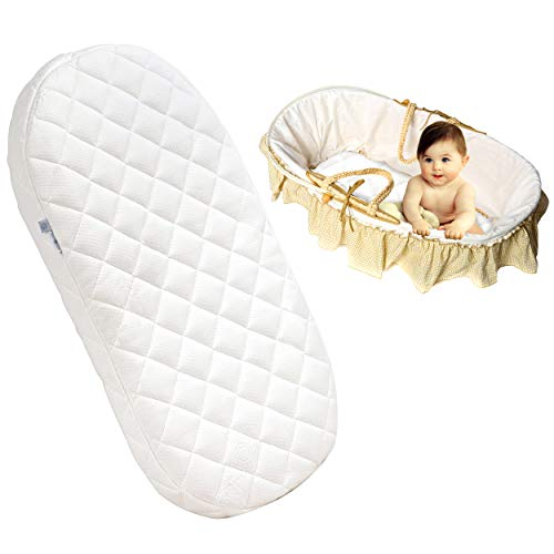 Baby Travel Cots Mattress Toddler Crib Nexttome Foam Moses Basket Comfort Bedding Mattresses Wedge Flathead Pillow Quilted Breathable With Removable Cover Waterproof Protector (67 x 30 CM)