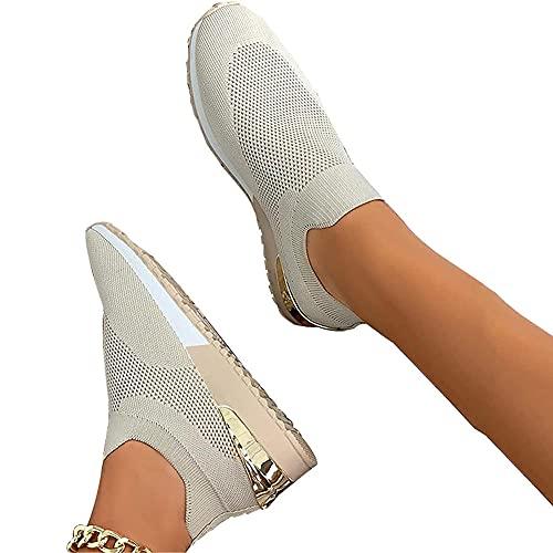 gth Zapatos planos para mujer, de malla, transpirables, ligeros, cómodos, antideslizantes, fáciles de elásticos, sin cordones, planos, beige_40